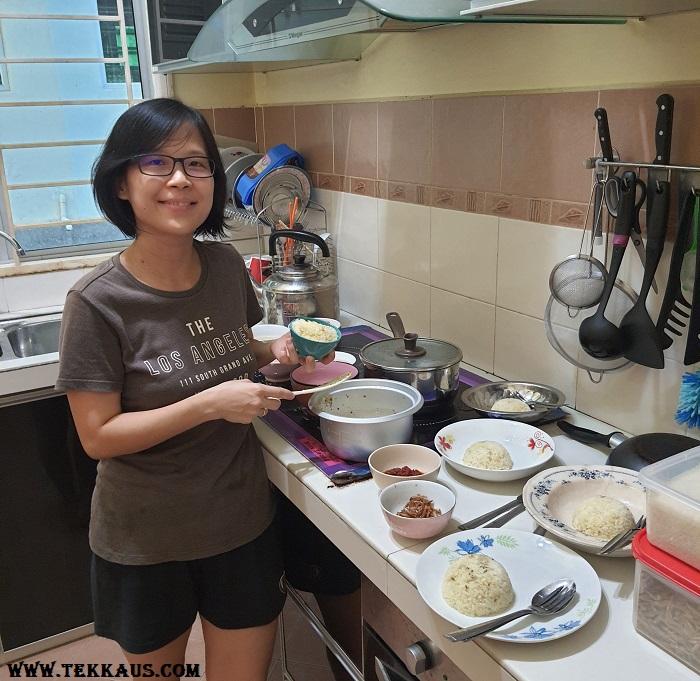 Wife cooked birthday dinner chicken chop garlic rice