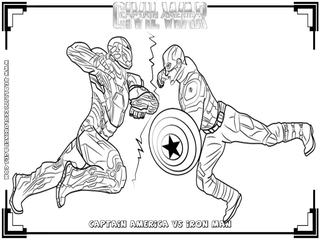 Capitan America Para Colorear: Captain America:Civil War Printable Coloring Pages
