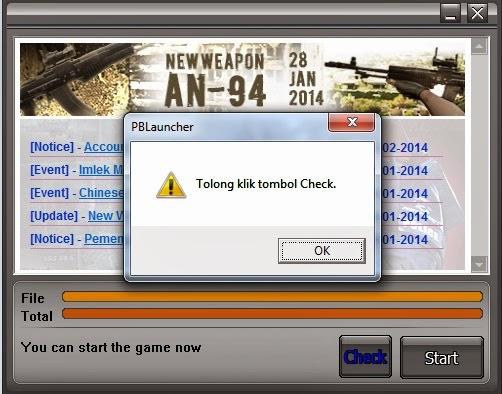 Tolong klik tombol Check