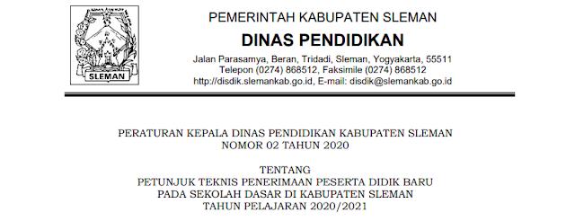 Jadwal Pendaftaran Zonasi dan Juknis PPDB SD Se Kabupaten Sleman Tahun Pelajaran 2020/2021