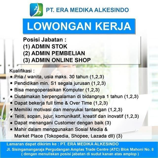 Lowongan Kerja Medan Juli 2021 S1 Di PT Era Medika Alkesindo