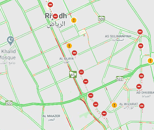 Red And Green Lines on Google Map