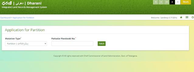 partition application online dharani telangana website