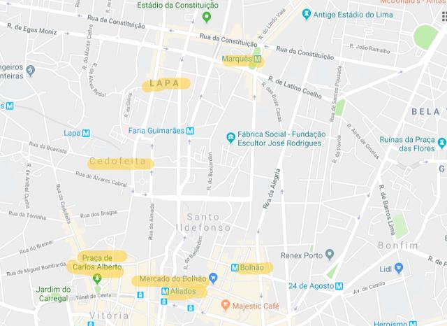 Mapa de hotéis no Porto