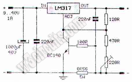 Ni-Cd Battery Charger Circuit with LM317 ~ Circuit Diagram