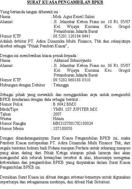 Contoh Surat Kuasa Pengambilan BPKB (via: suratresmi.net)