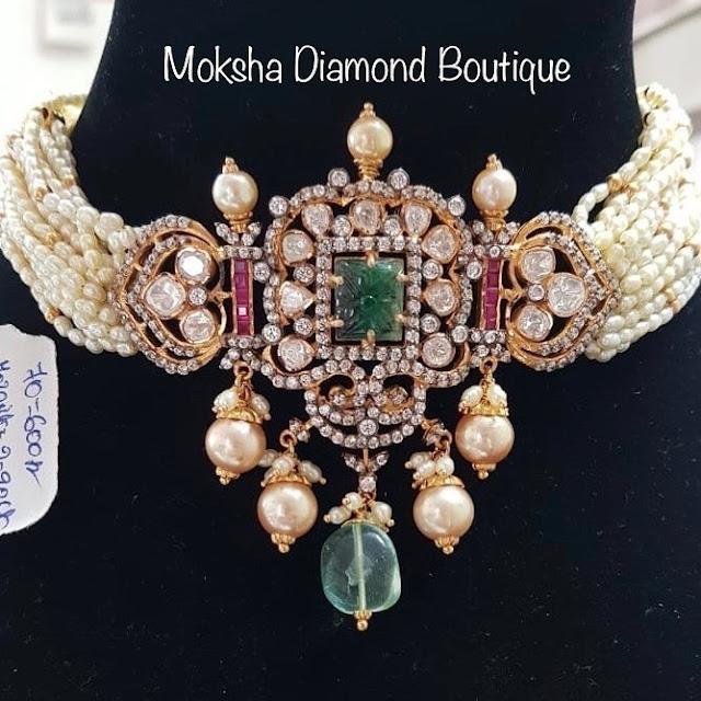 Rice Pearls Choker by Moksha Diamond