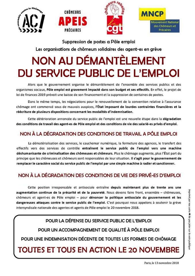 5de7e4d57ea Non au démantèlement du service public de l emploi - Grève du 20 novembre