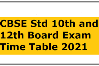 CBSE Std 10th & 12th Date Sheet For Board Examination 2021 | CBSE Std 10th and 12th Board Exam Time Table 2021