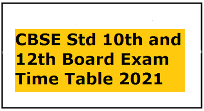 CBSE Std 10th and 12th Board Exam Time Table 2021