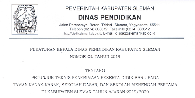 File Pendidikan DOWNLOAD JUKNIS PPDB TK, SD, SMP KABUPATEN SLEMAN TAHUN AJARAN 2019/2020