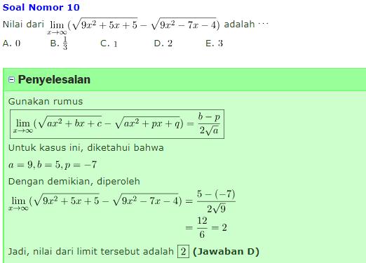 10+ contoh soal dan pembahasan limit tak hingga