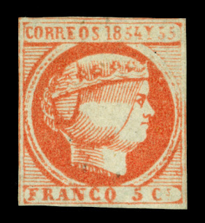Spanish PHILIPPINES 1855 Queen Isabella II 5c pale red