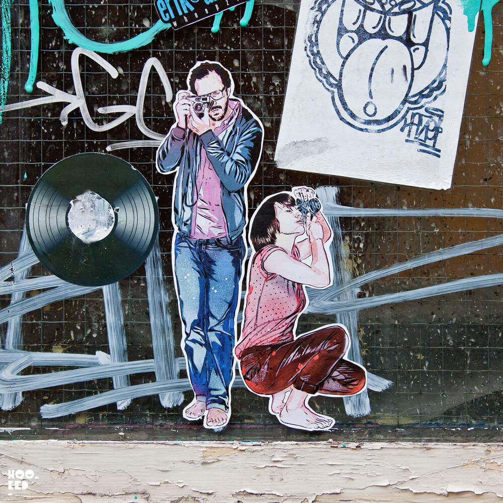 French street artists Jana & JS Sticker Work on the streets of London