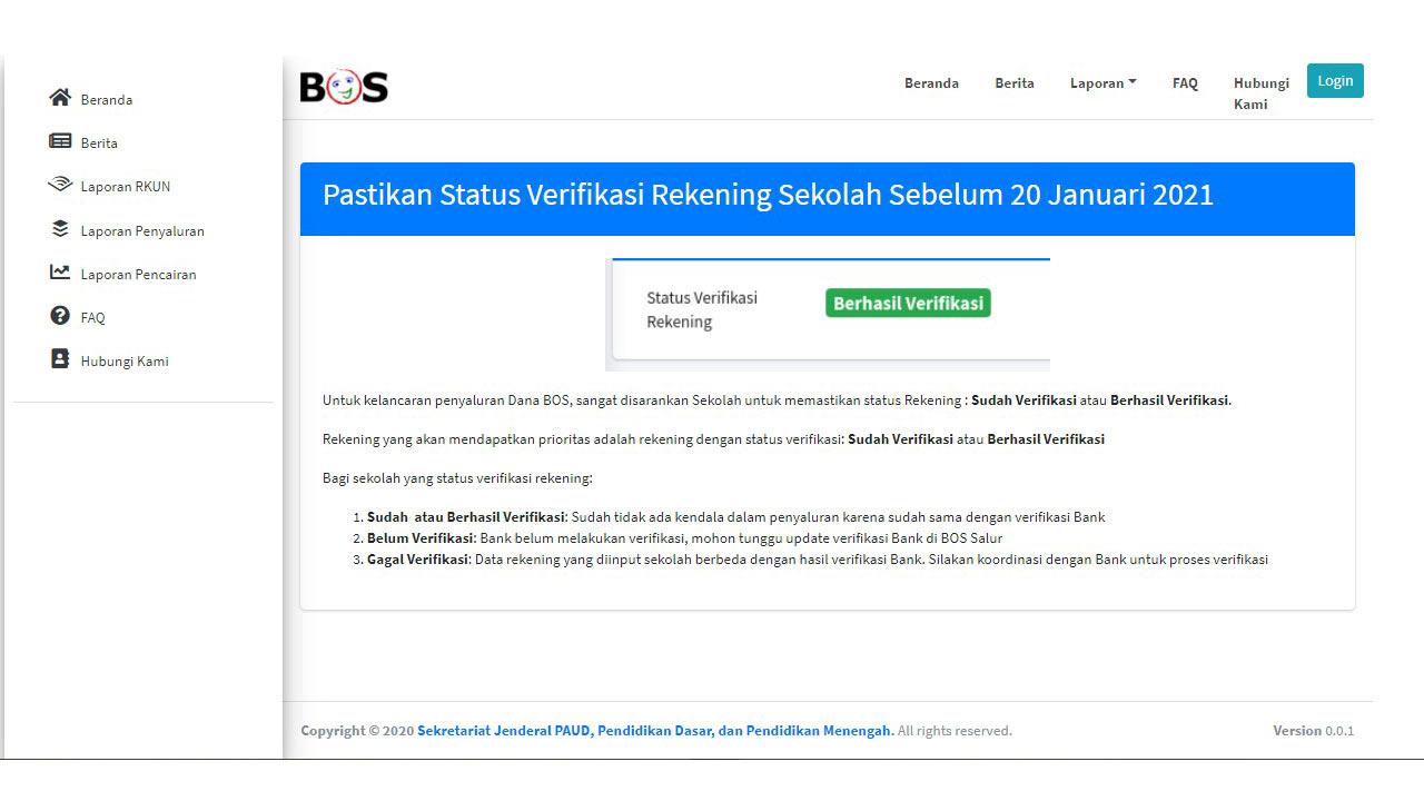Cek Status Verifikasi Rekening BOS