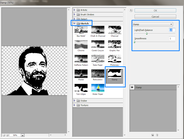 Apply stamp filter in photoshop