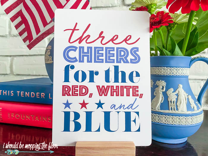 Three Cheers for the Red, White, and Blue Printable
