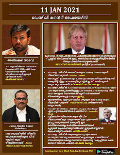 Daily Malayalam Current Affairs 11 Jan 2021