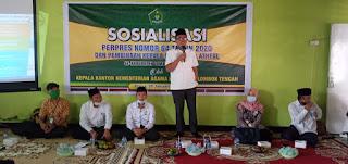 SOSIALISASI: Kepala Kantor Kemenag Loteng saat sosialisasi Perpres 64, Selasa (26/1).