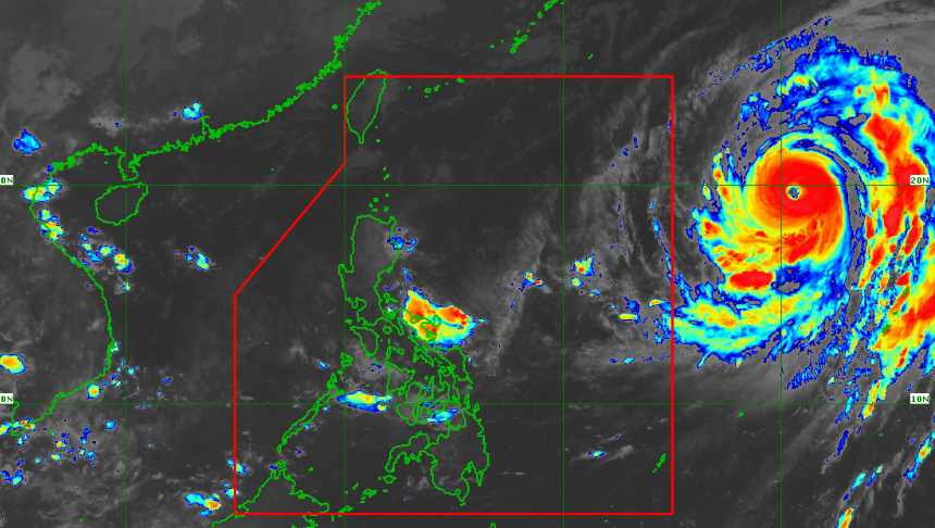Satellite image of Typhoon Hagibis as of 6:20 am, October 9