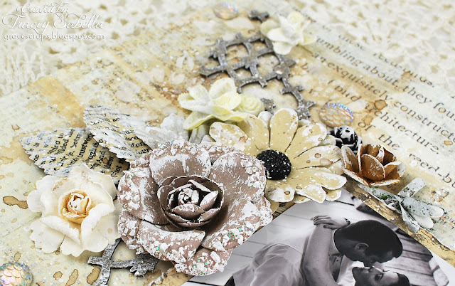 Adore Mixed Media Wedding Layout by Tracey Sabella, Scraps of Elegance August Kit, Prima Debutante, Prima Marketing, Video Tutorial