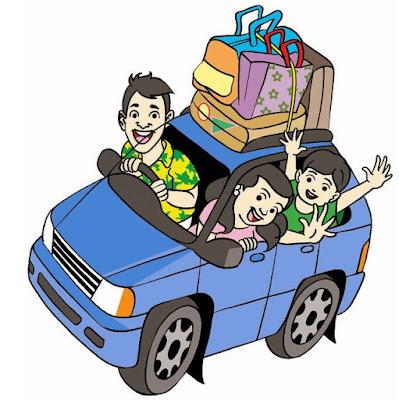 Gambar kartun keluarga naik mobil