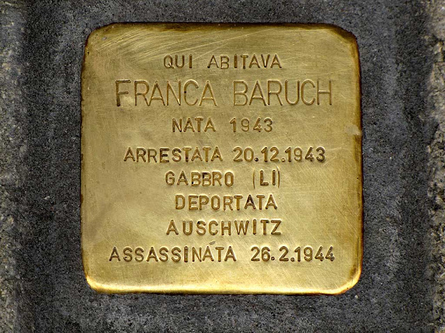 Stolperstein, stumbling block, remembering Franca Baruch, Livorno