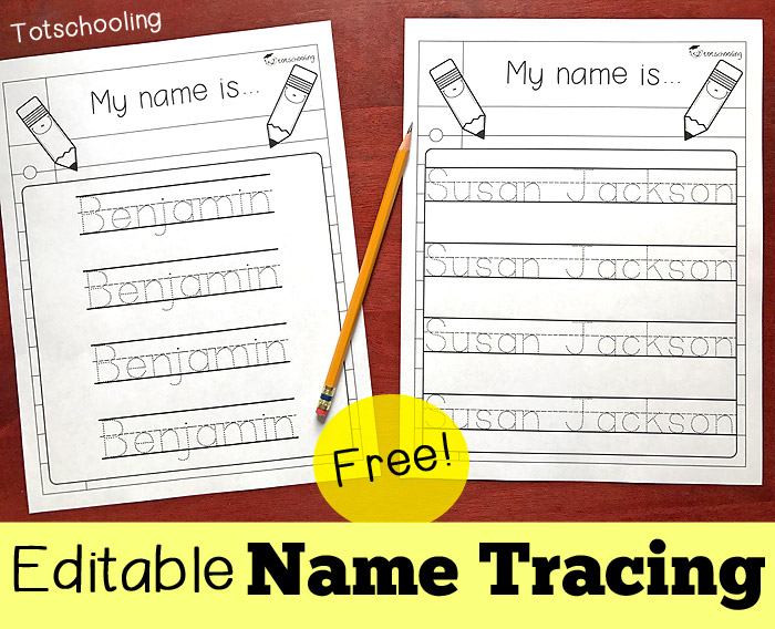 Editable name tracing sheet totschooling toddler for Free printable name tracing templates