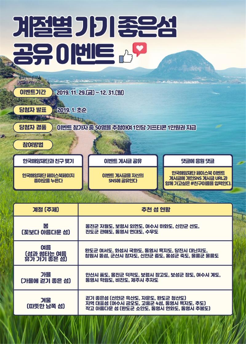 해수부, 계절별 가기 좋은 섬 공유 및 방문 이벤트 개최