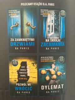 dotychczas wydane w Polsce książki B.A. Paris, fot. paratexterka ©