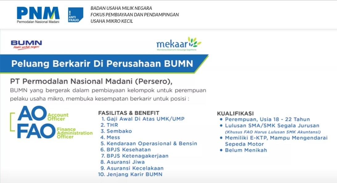 Melamar Lowongan Kerja Di Perusahaan BUMN PT Permodalan Nasional Madani (Persero) Khusus SMA / SMK