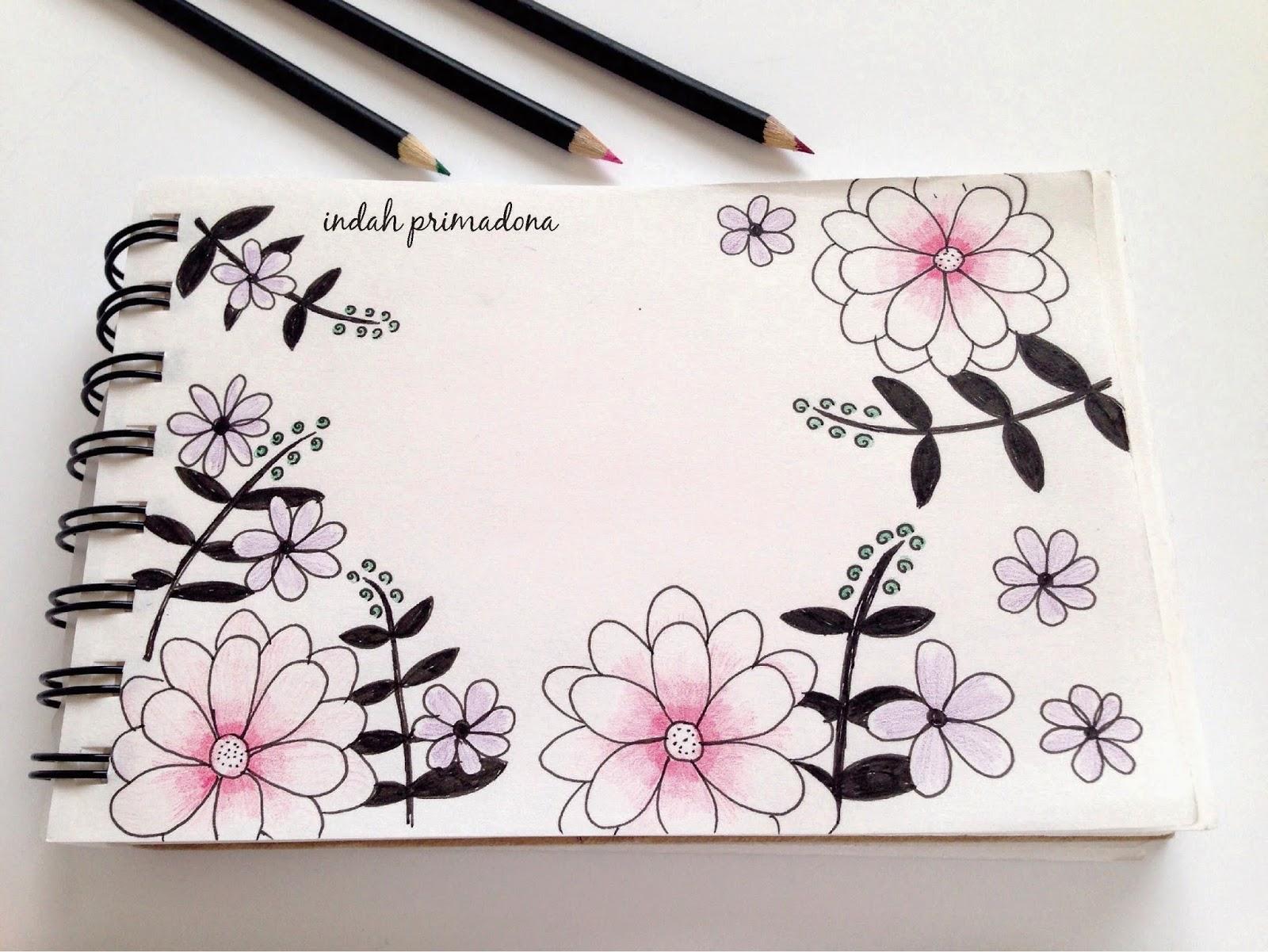 Lukisan Doodle Bunga Simple