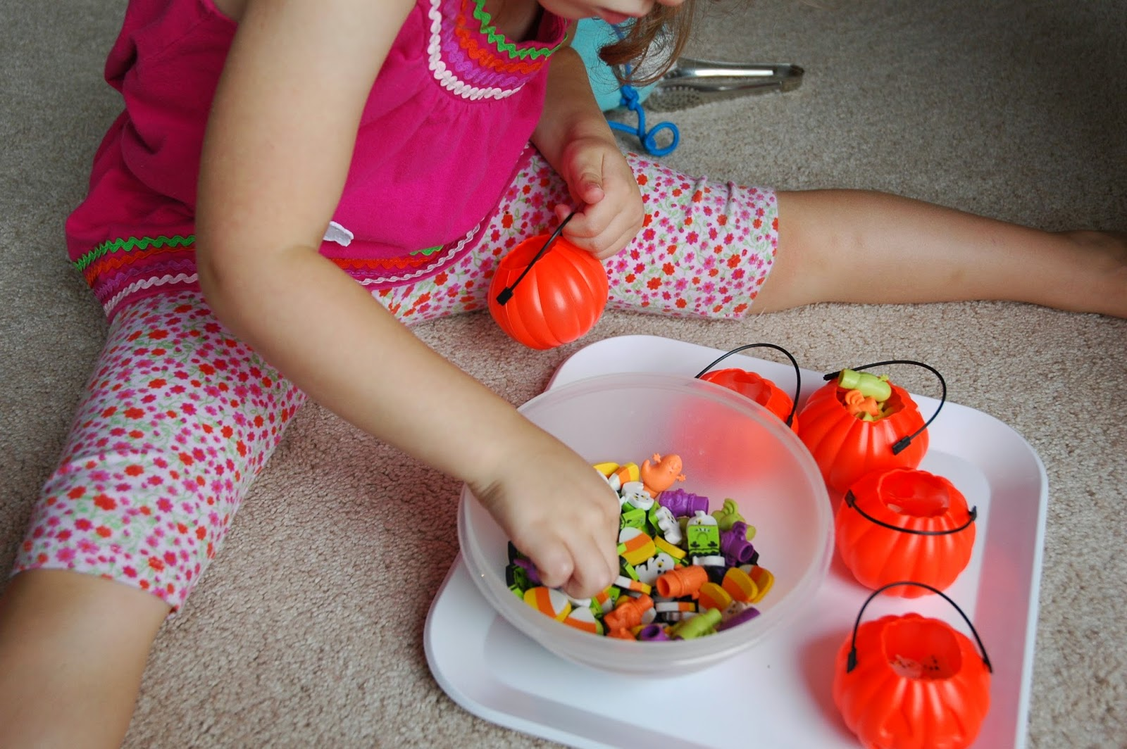 Halloween eraser sorting for fine motor exercise