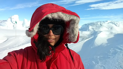 On an Antarctic expedition to launch physics balloon mission ANITA for PhD, picture of oindree banerjee, used in blog how to phd, things to pack for your antarctic expedition