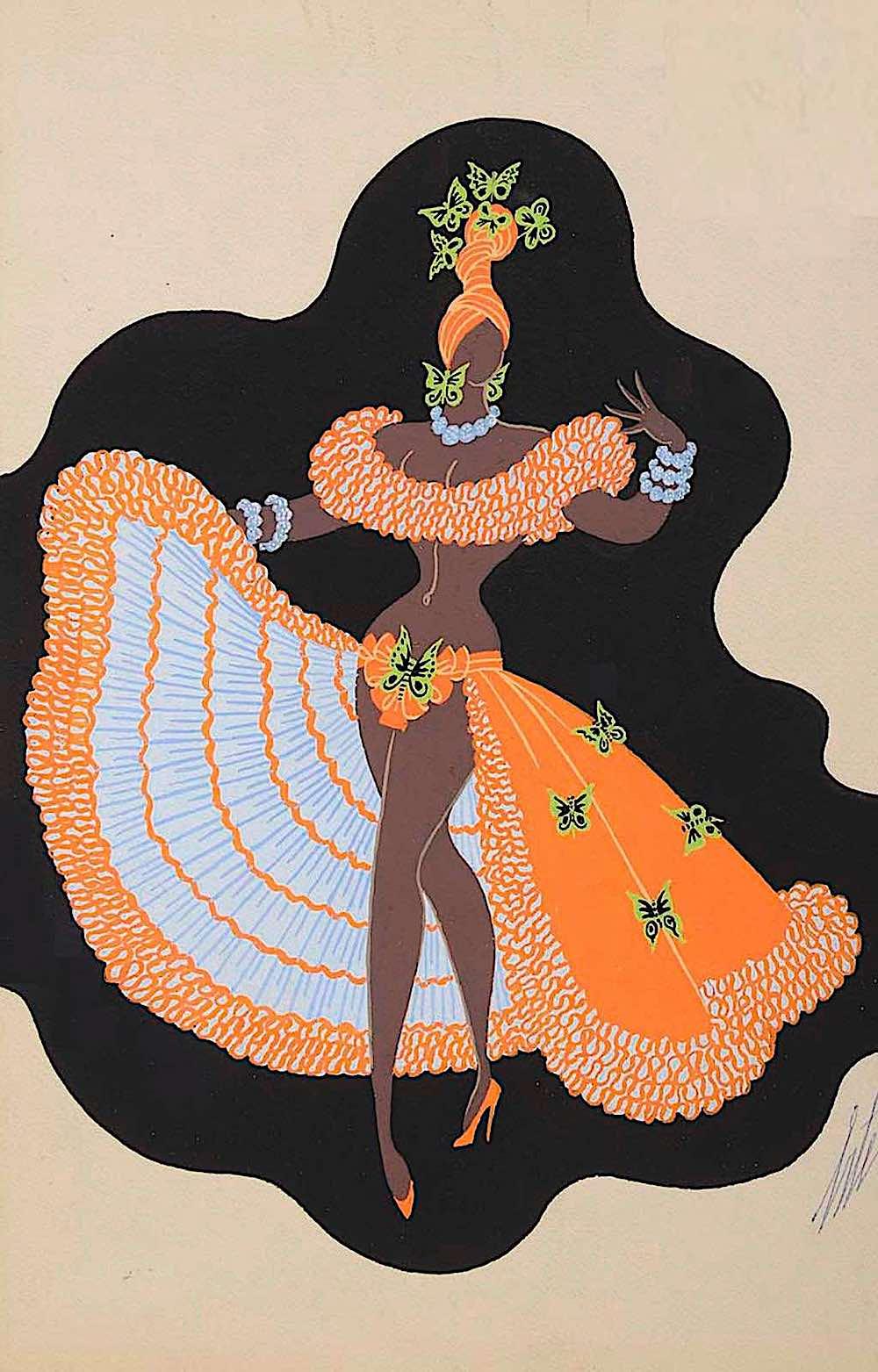 Erté, a festive Caribbean woman dancer