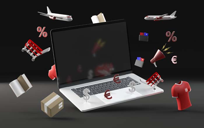 3D Various Sale Objects Mock Up Black Background