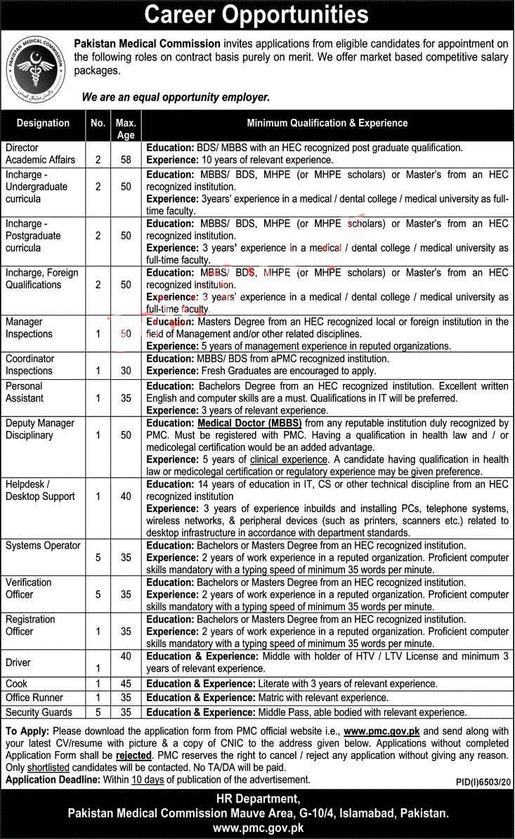 PMC Jobs 2021 -Pakistan Medical Commission Advertisement
