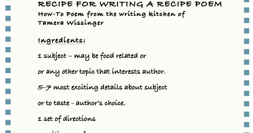 Smack Dab In The Middle Recipe For Writing A Recipe Poem November Theme By Tamera Wissinger