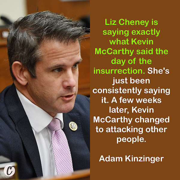 Liz Cheney is saying exactly what Kevin McCarthy said the day of the insurrection. She's just been consistently saying it. A few weeks later, Kevin McCarthy changed to attacking other people. — GOP Rep. Adam Kinzinger