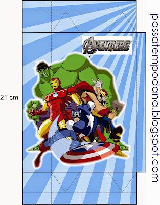 Caja para Imprimir Gratis de los Vengadores.