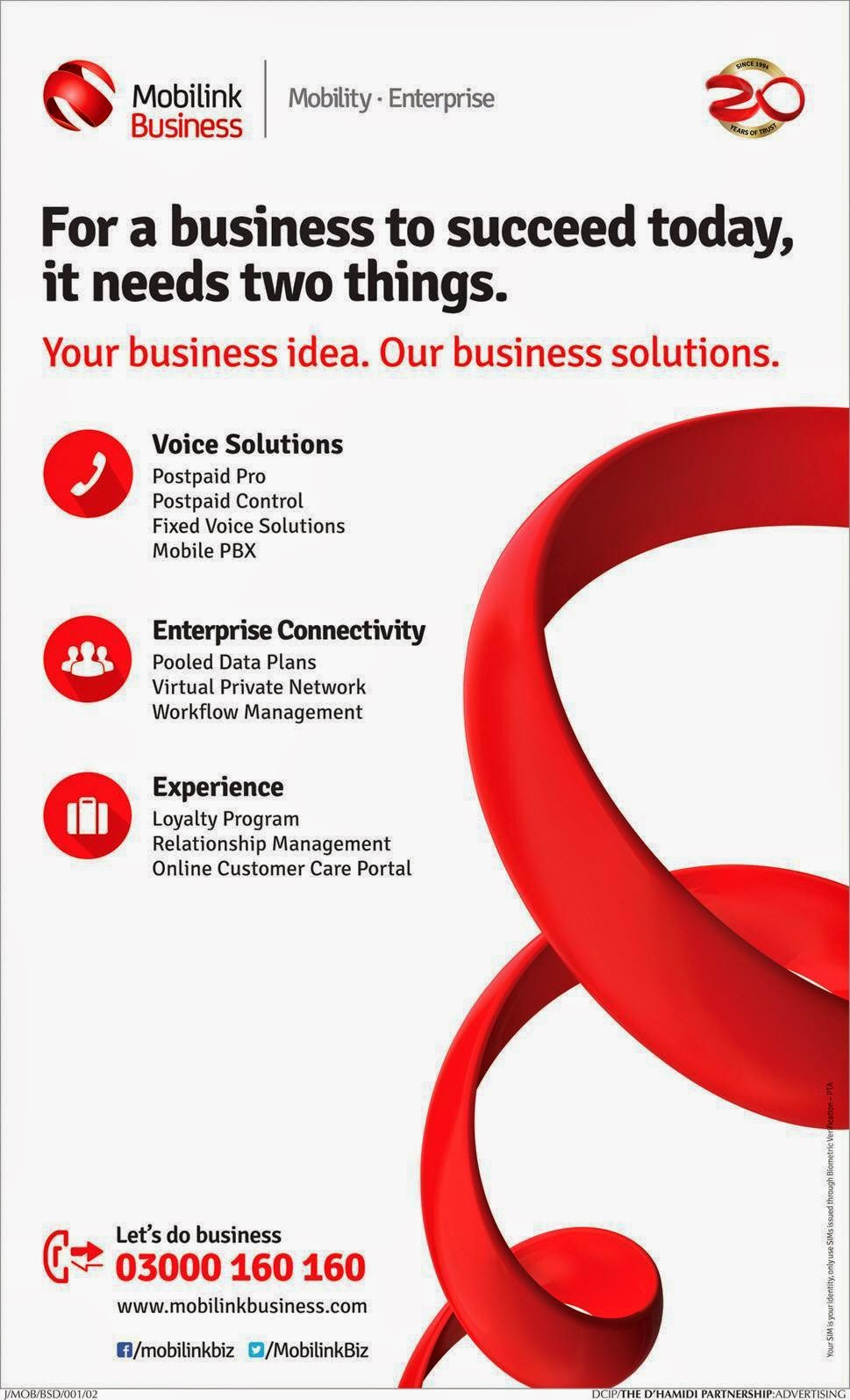 Mobilink Business Mobility Enterprise for Voice Solutions, Enterprise Connectivity and Experience