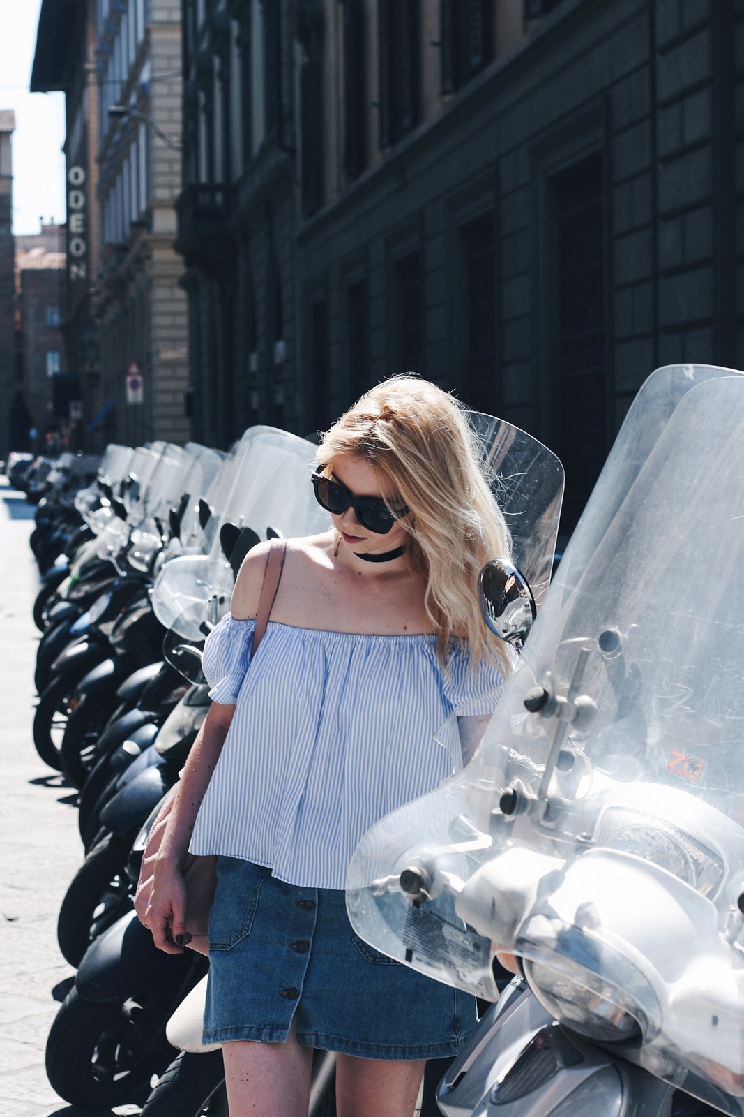 One day in Florence Zara denim skirt off the shoulder top outfit