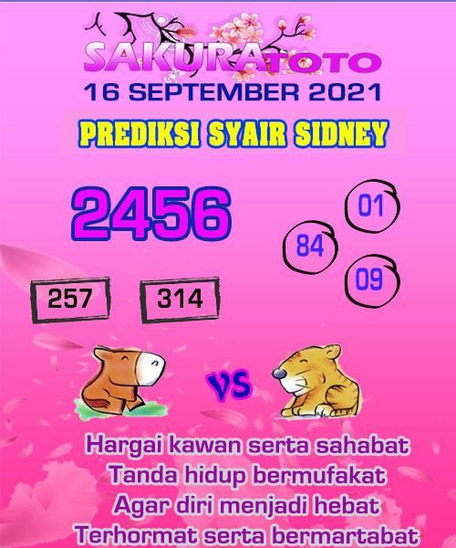 Prediksi Sakura Toto Sidney Kamis 16 September 2021
