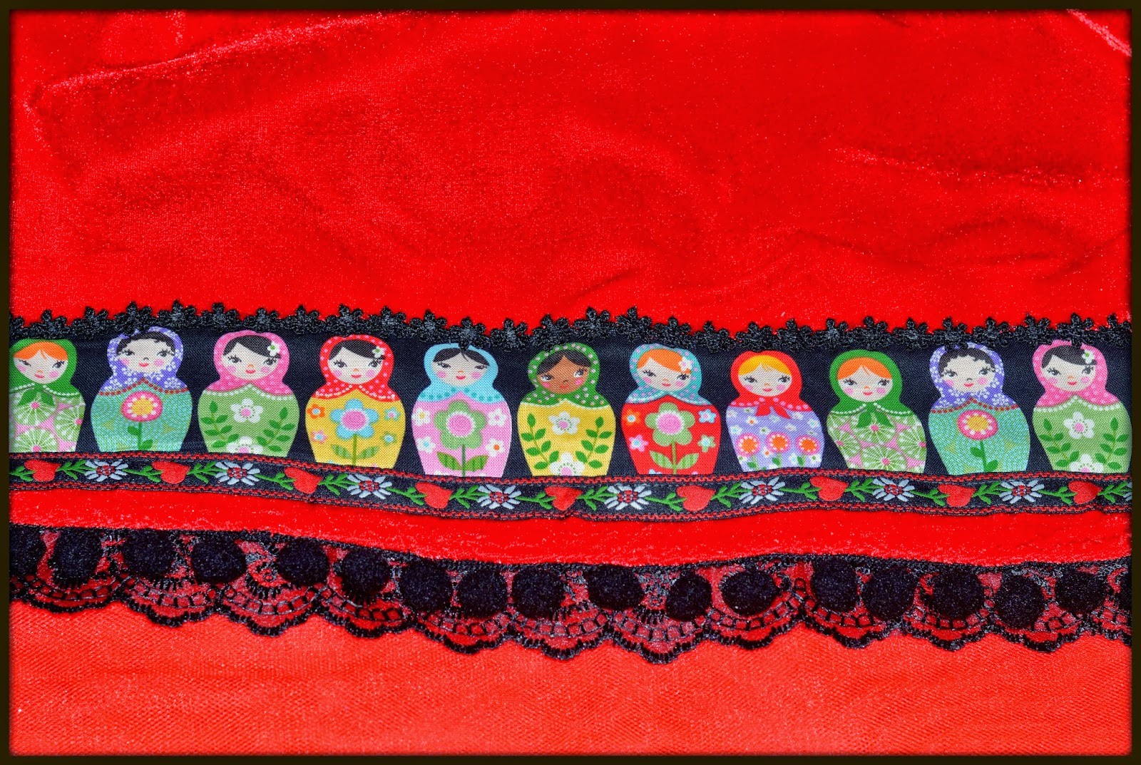 lace tape, matryoshka doll, pom poms tape, red velvet, ribbons applique, lace hem,