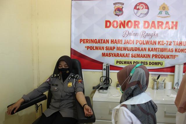 Polwan Polres Dompu Gelar Donor Darah Peduli Saat Pandemi
