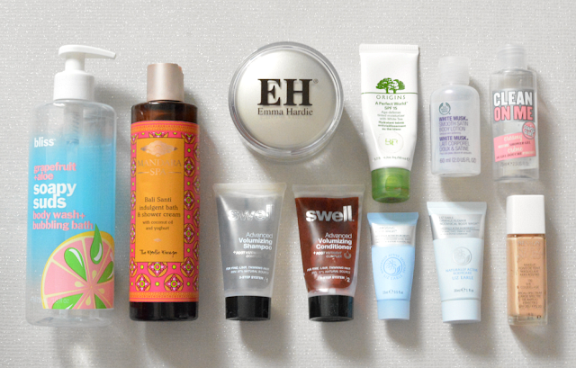 Bliss, Mandara spa, Emma Hardie, Swell haircare, Origins, Liz Earle, The body shop, Soap and glory, Revlon, Empties, Reviews