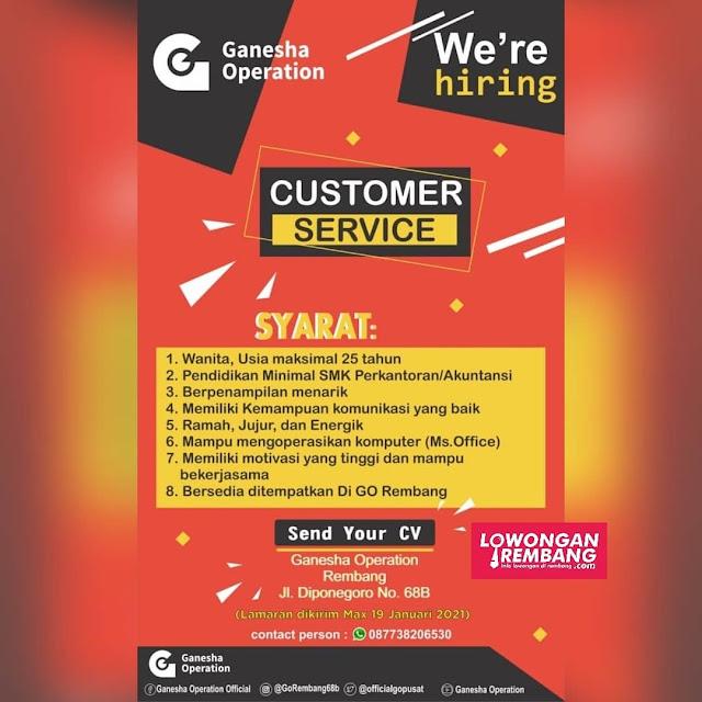 Lowongan Kerja Customer Service PT Ganesha Operation Rembang
