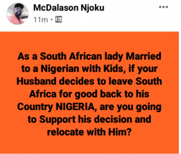 its Only illiterate South African women marry Nigerian men – South African woman says