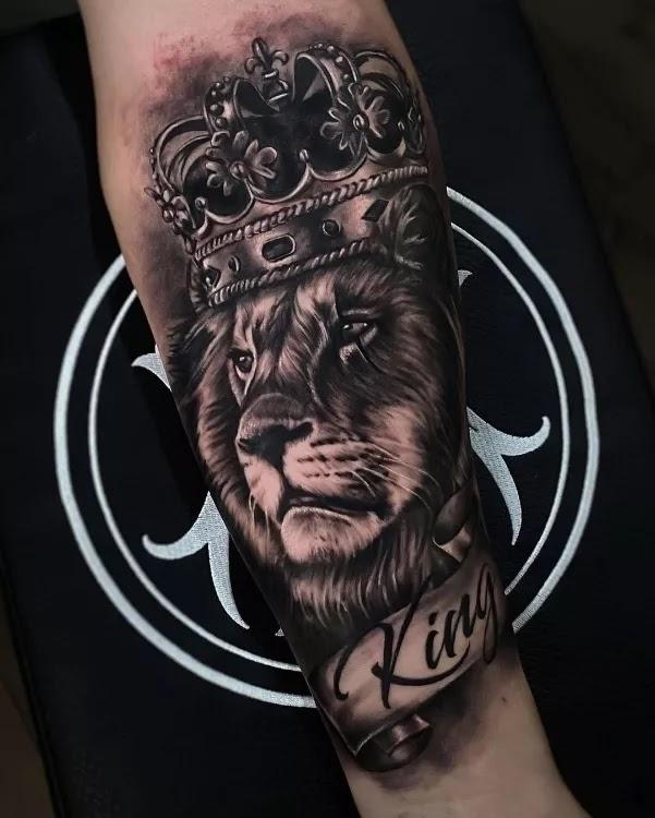 Lion, king tattoo design for men.