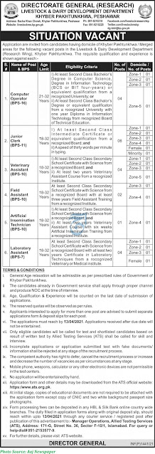 Livestock and Dairy Development Department Research wing KPK Jobs 2021 Latest Download Application forms